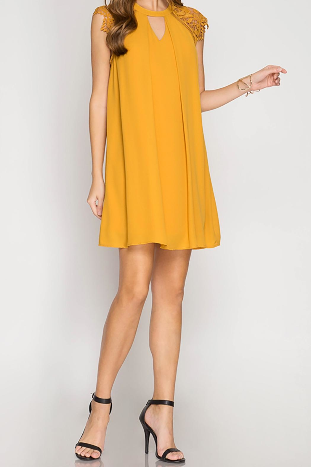 She + Sky Mustard Swing Dress - Front Cropped Image