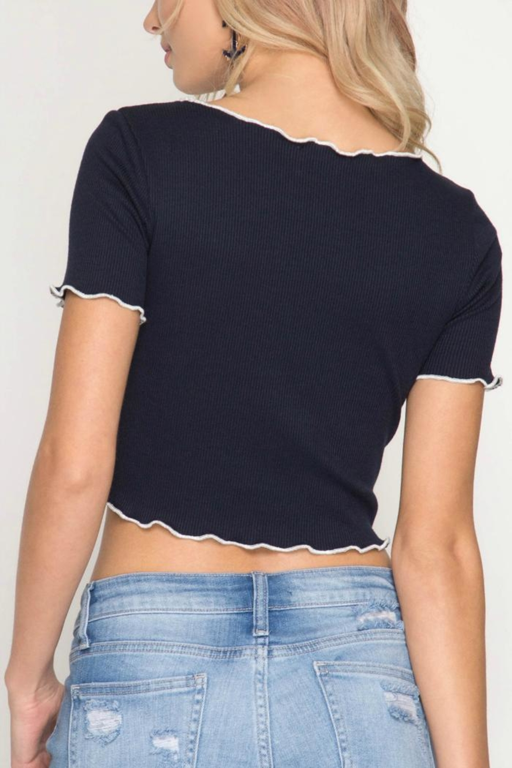 She + Sky Navy Cropped Top - Front Full Image