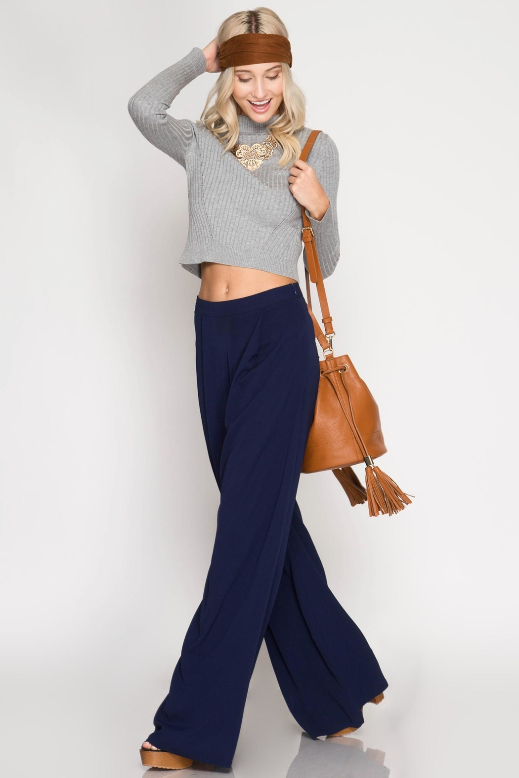 She + Sky Navy Palazzo Pants - Side Cropped Image