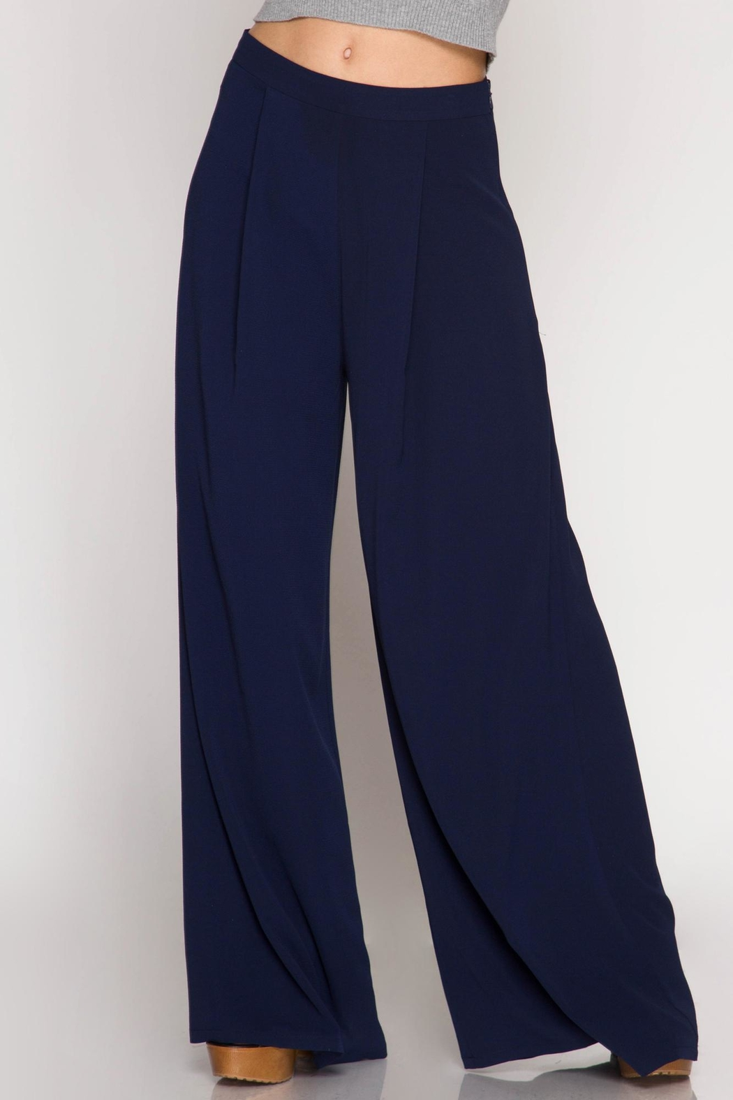 She + Sky Navy Palazzo Pants - Front Cropped Image