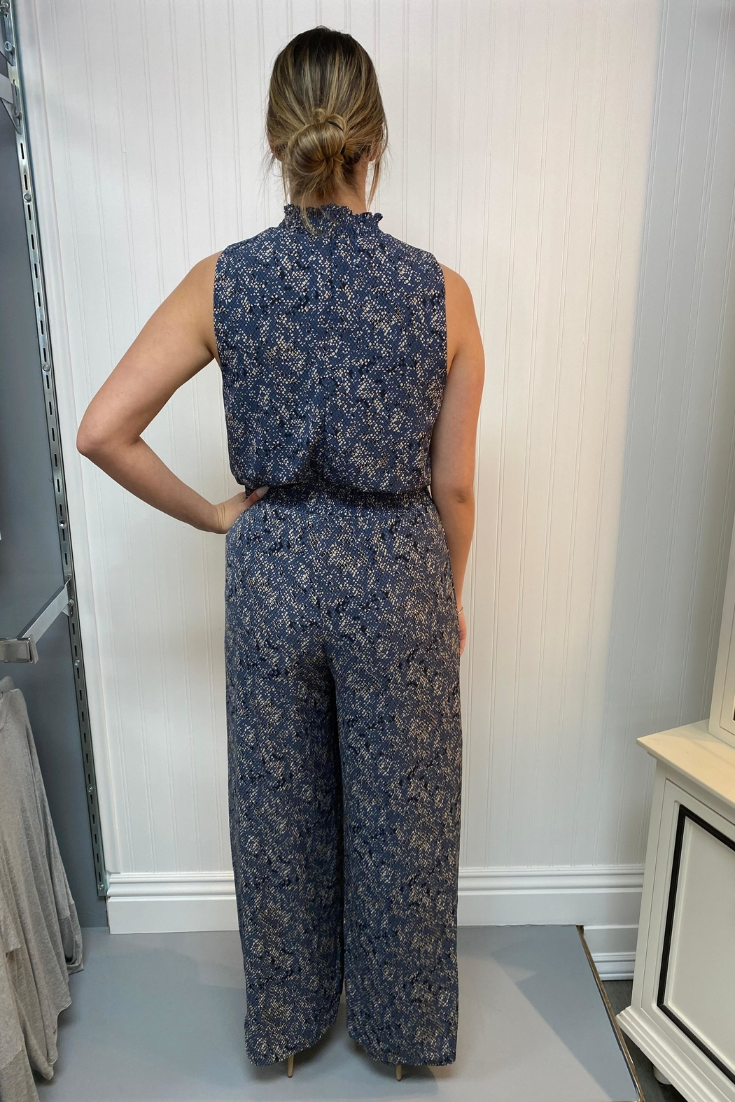 She + Sky Navy Patterned Jumpsuit - Front Full Image