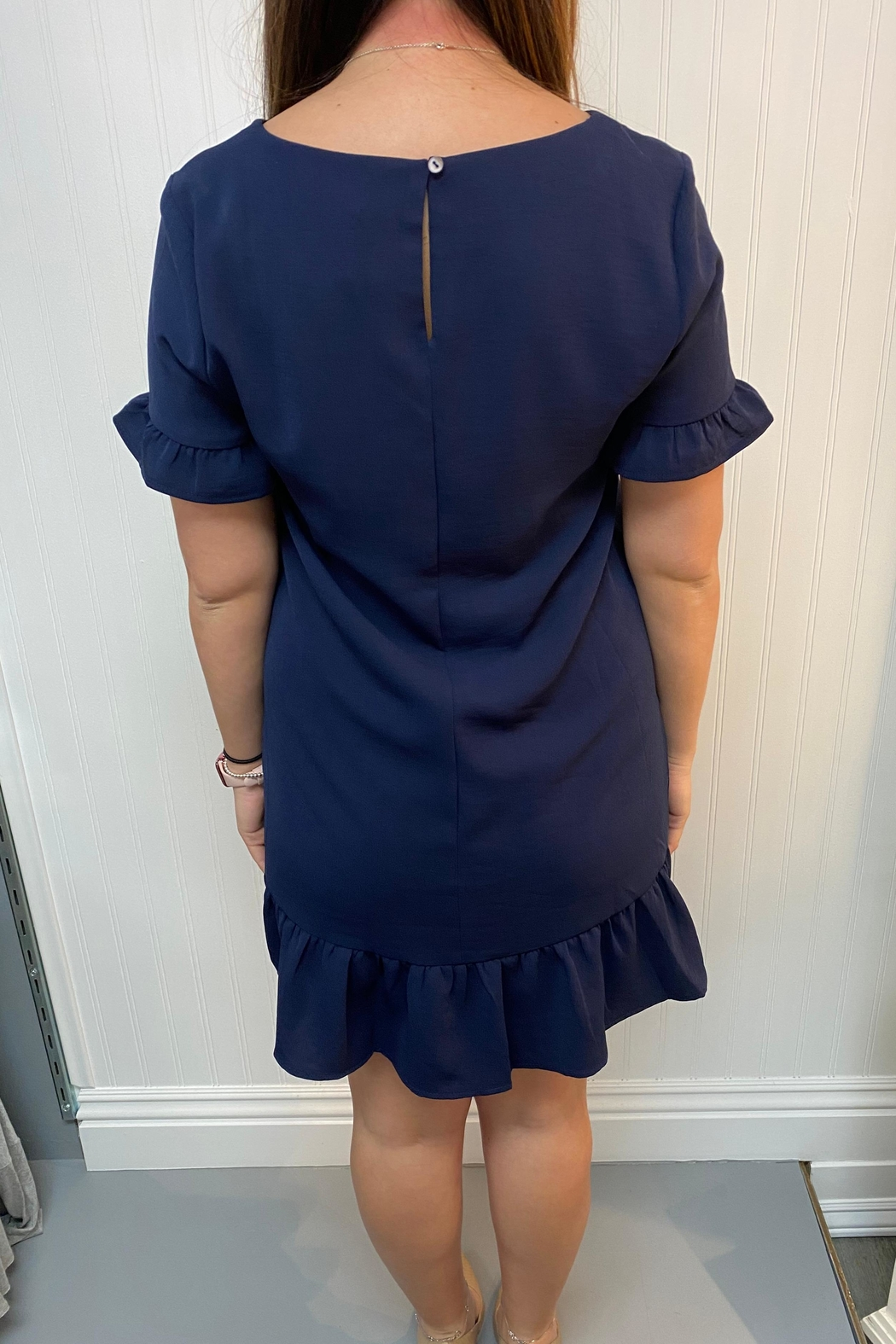 She + Sky Navy Shift Dress - Front Full Image