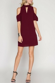 She + Sky Neck-Folded Cold-Shoulder Dress - Product Mini Image
