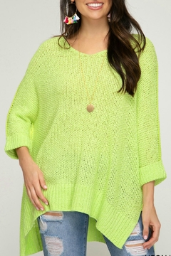 She + Sky Neon-Lime Knit Top - Alternate List Image