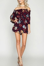She + Sky Off-Shoulder Floral Romper - Front cropped