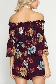 She + Sky Off-Shoulder Floral Romper - Front full body