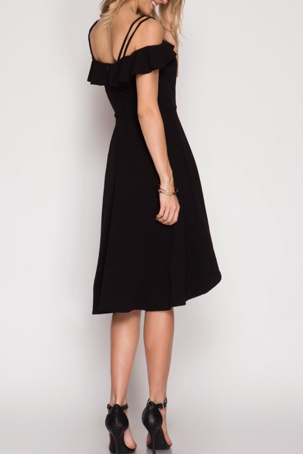 She + Sky Off Shoulder Black Dress - Front Full Image