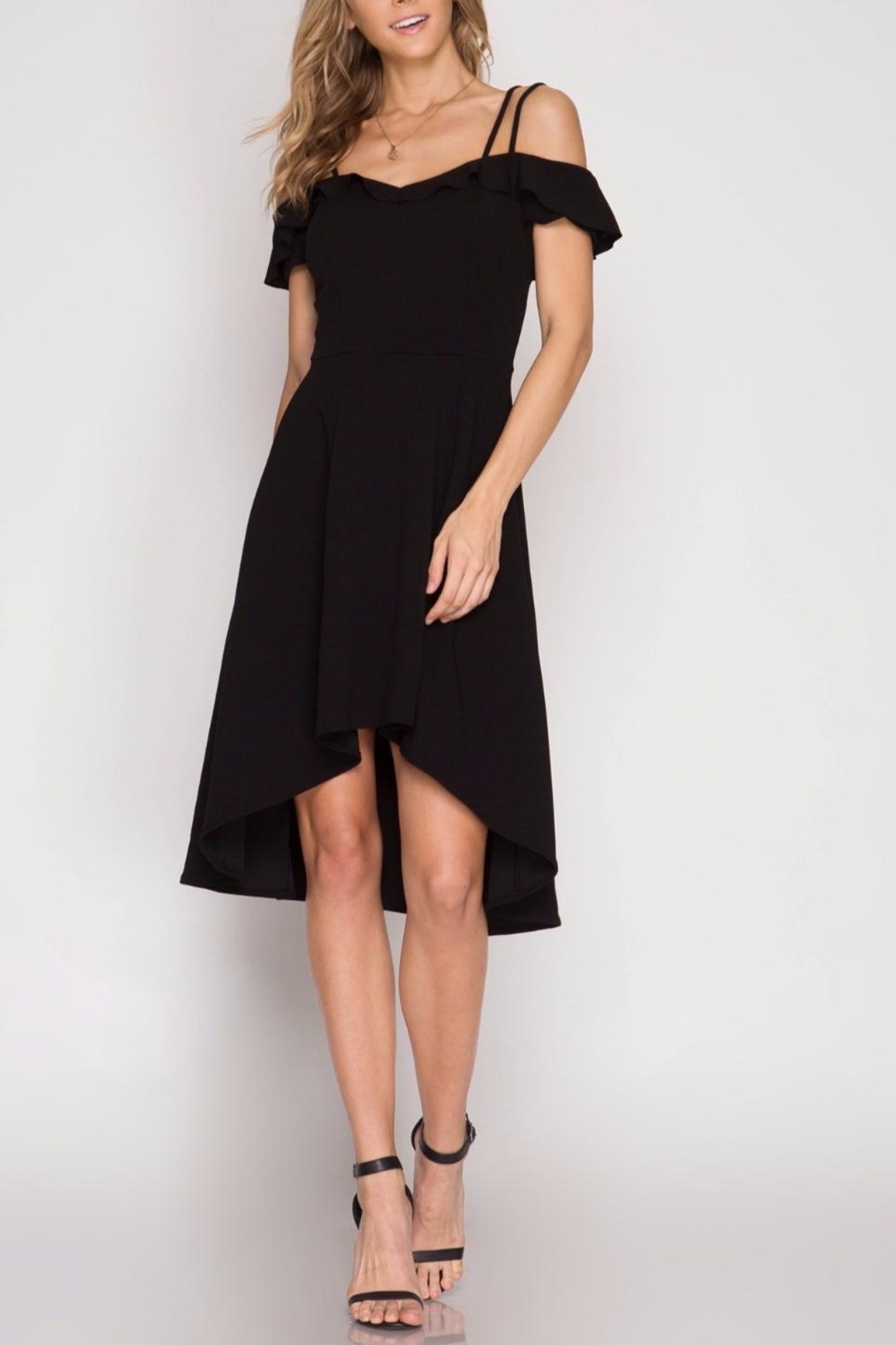 She + Sky Off Shoulder Black Dress - Main Image