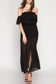 She + Sky Off-Shoulder Maxi Romper - Front cropped