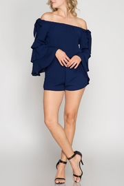 She + Sky Off-Shoulder Ruffle Romper - Product Mini Image
