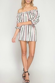 She + Sky Off-Shoulder Striped Romper - Product Mini Image
