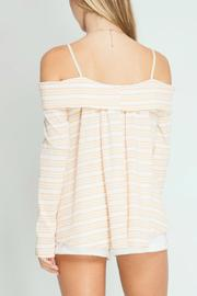 She + Sky Off Shoulder Striped Top - Front full body