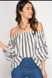 She + Sky Off Shoulder Top - Front cropped
