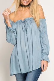 She + Sky Off-The-Shoulder Blouse - Front cropped