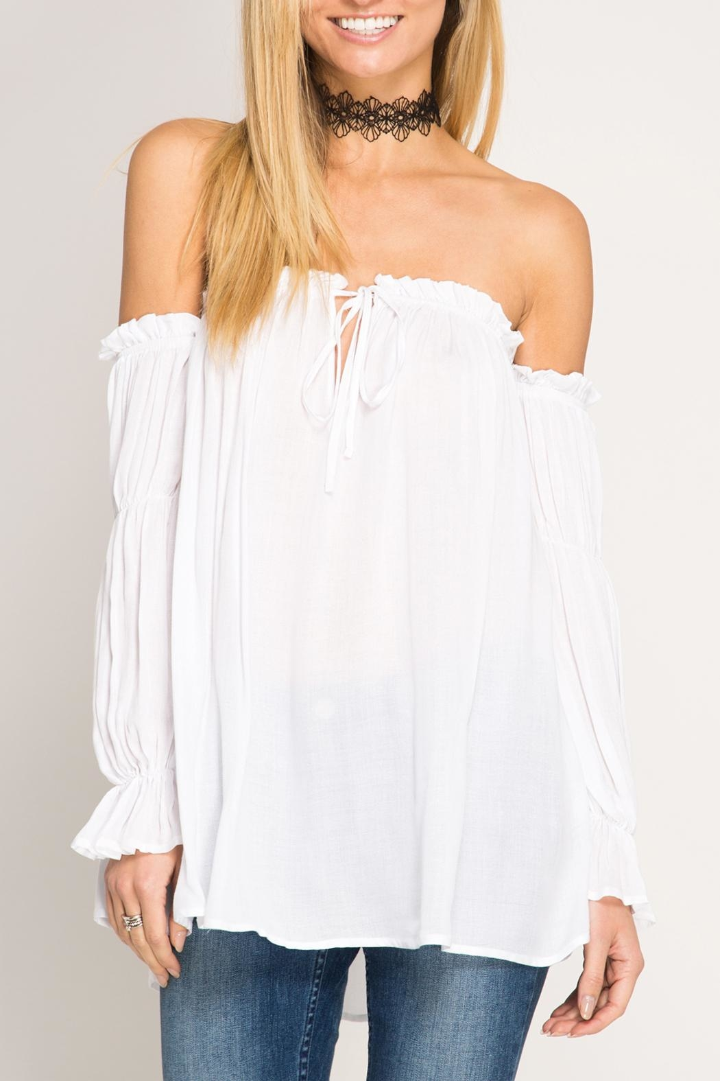She + Sky Off-The-Shoulder Blouse - Front Cropped Image