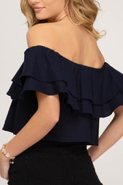 She + Sky Off-The-Shoulder Linen Top - Front full body