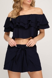 She + Sky Off-The-Shoulder Linen Top - Product Mini Image
