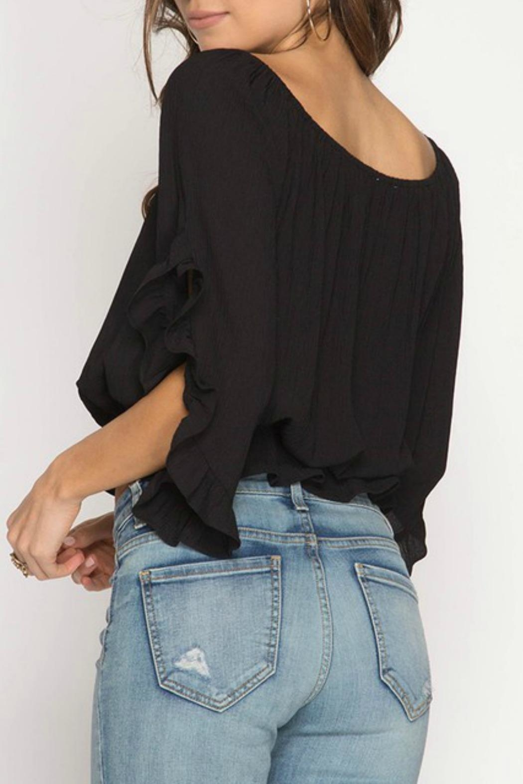 She + Sky Off-The-Shoulder Peplum Top - Front Full Image