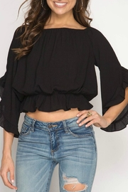 She + Sky Off-The-Shoulder Peplum Top - Front cropped