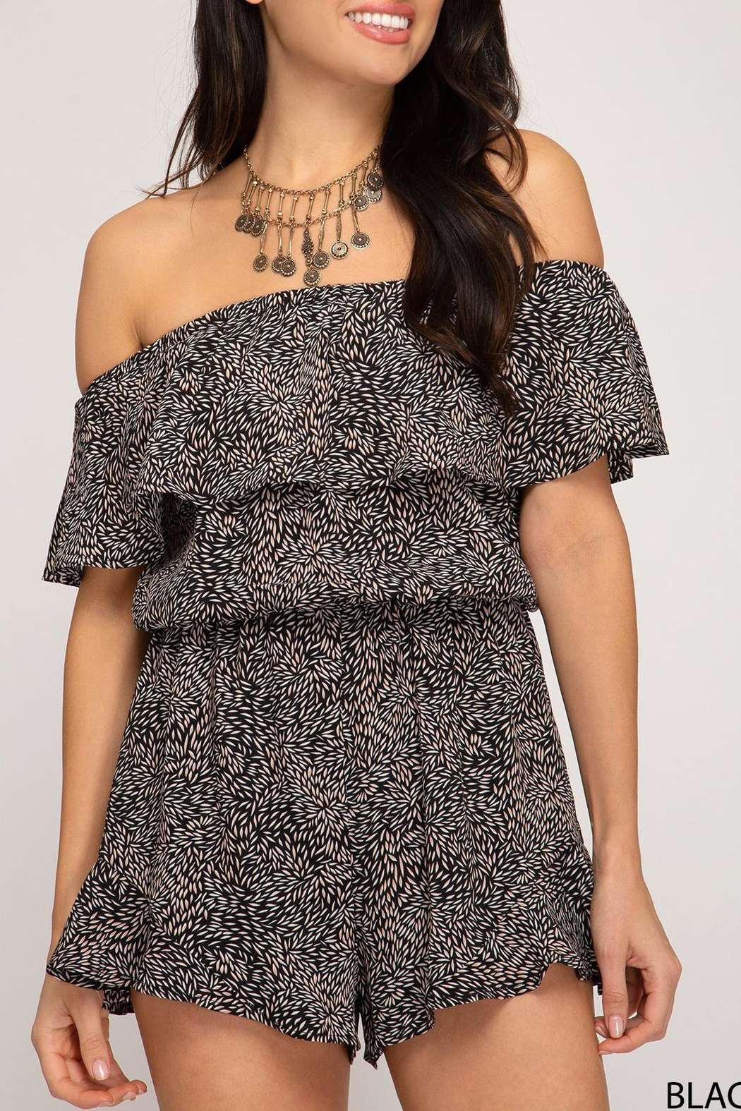 She + Sky Off-The-Shoulder Printed Romper - Front Full Image