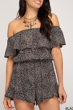 She + Sky Off-The-Shoulder Printed Romper - Alternate List Image