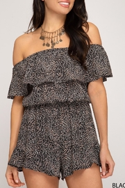 She + Sky Off-The-Shoulder Printed Romper - Front full body