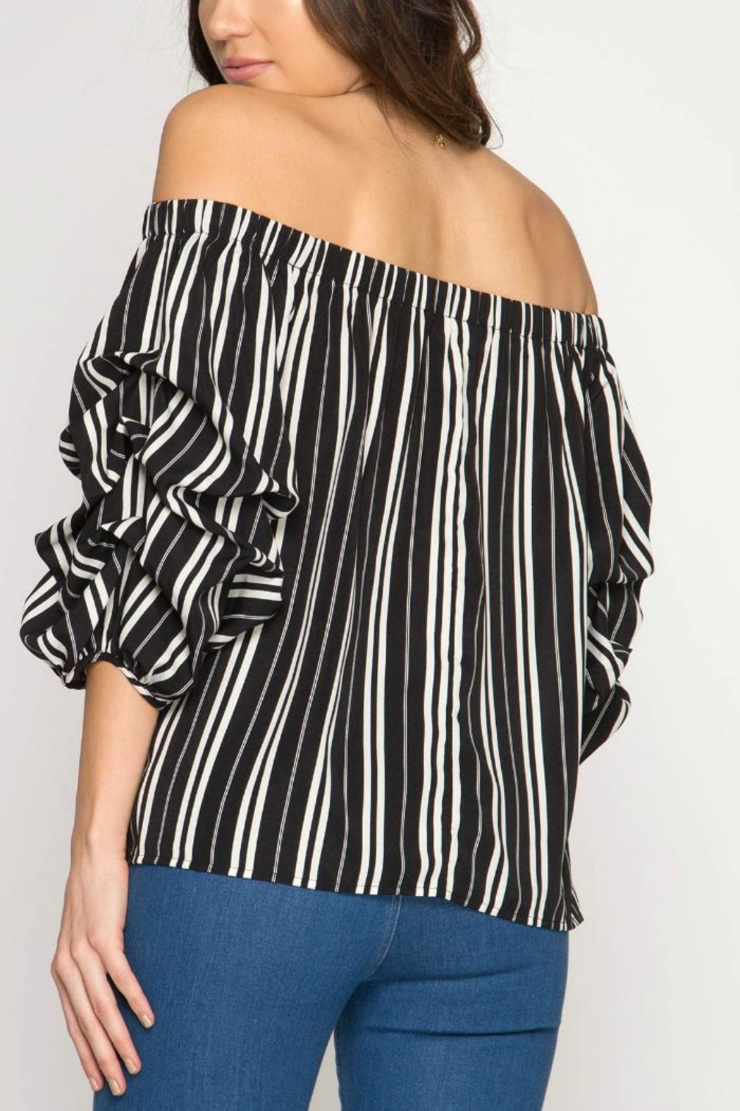 She + Sky Off-The-Shoulder Stripped Blouse - Front Full Image