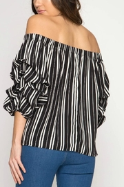 She + Sky Off-The-Shoulder Stripped Blouse - Front full body