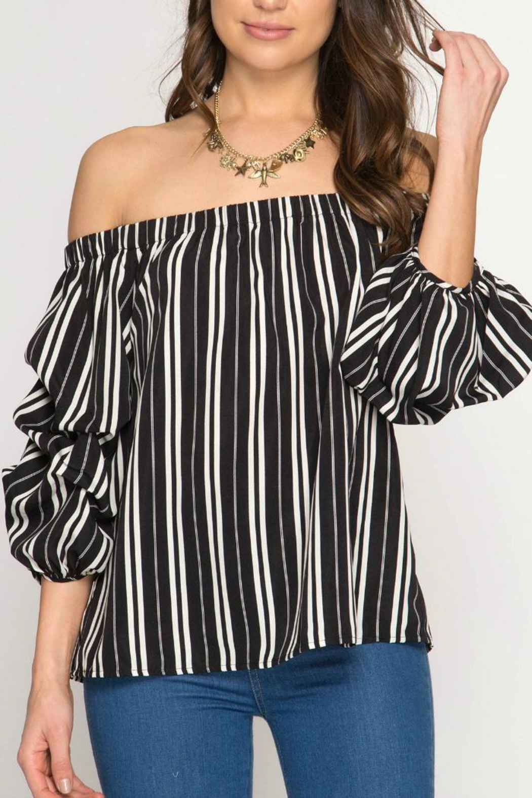 She + Sky Off-The-Shoulder Stripped Blouse - Main Image