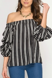 She + Sky Off-The-Shoulder Stripped Blouse - Front cropped