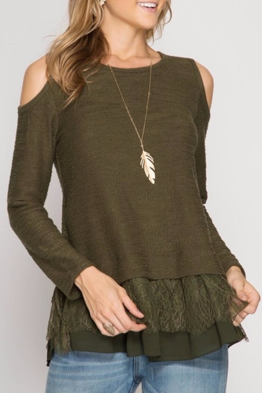 She + Sky Olive Lace Top - Main Image