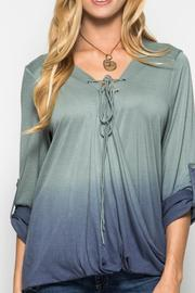 She + Sky Ombre Lace Up Top - Product Mini Image