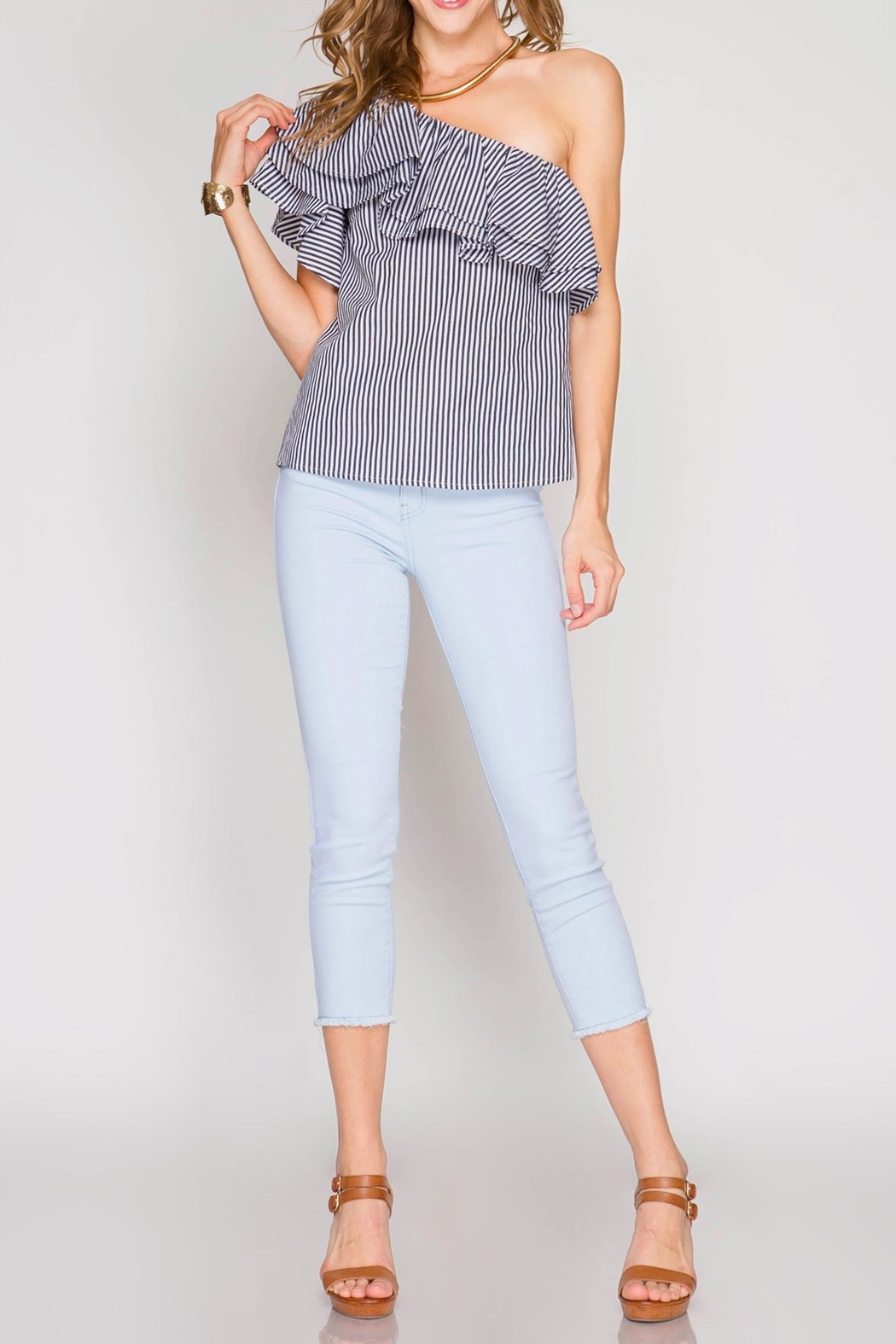She + Sky One Shoulder Ruffle Top - Main Image