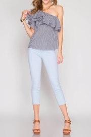She + Sky One Shoulder Ruffle Top - Front cropped
