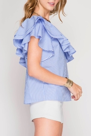 She + Sky One Shoulder Ruffle Top - Front full body