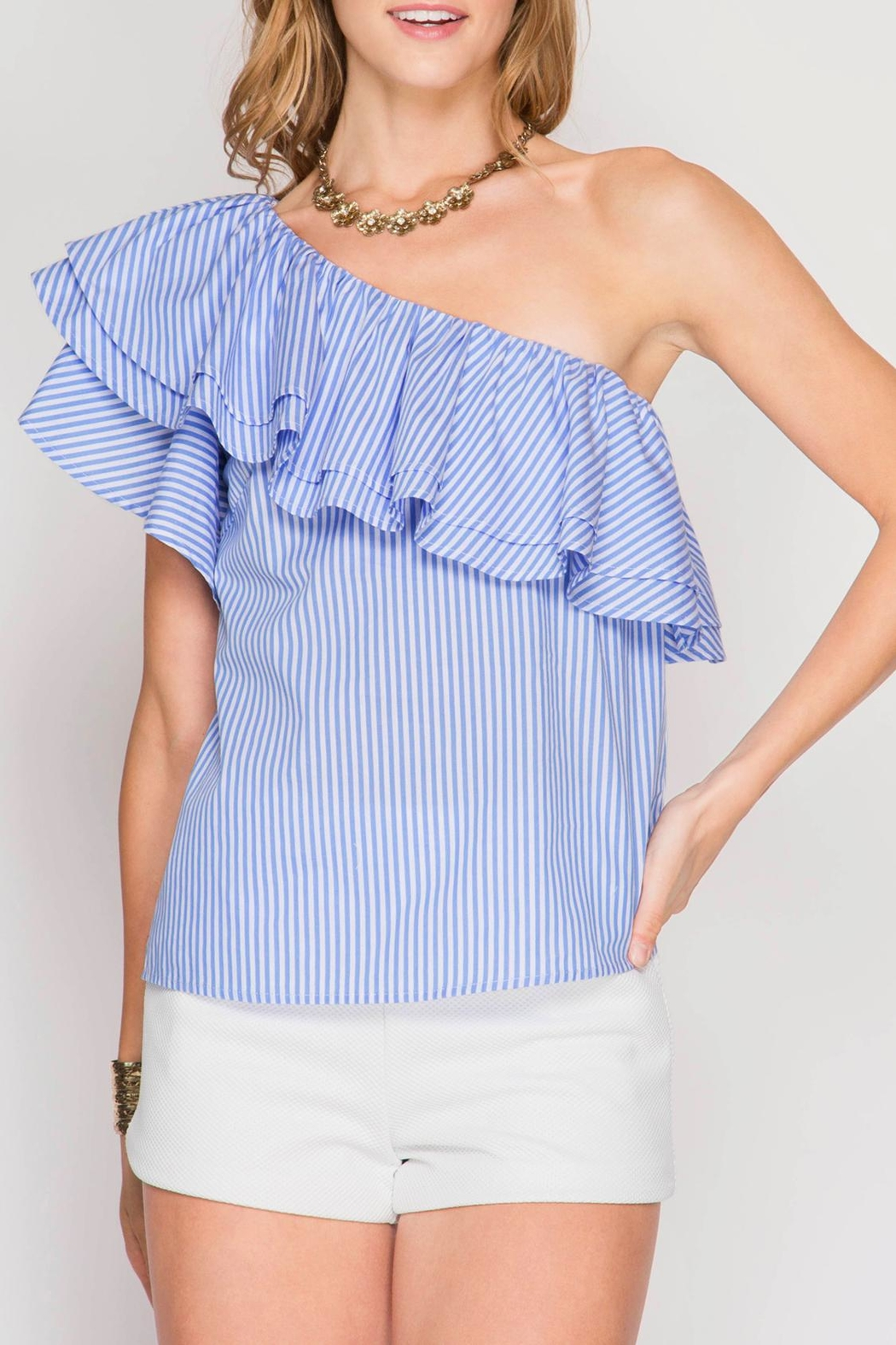 She + Sky One Shoulder Ruffle Top - Front Cropped Image