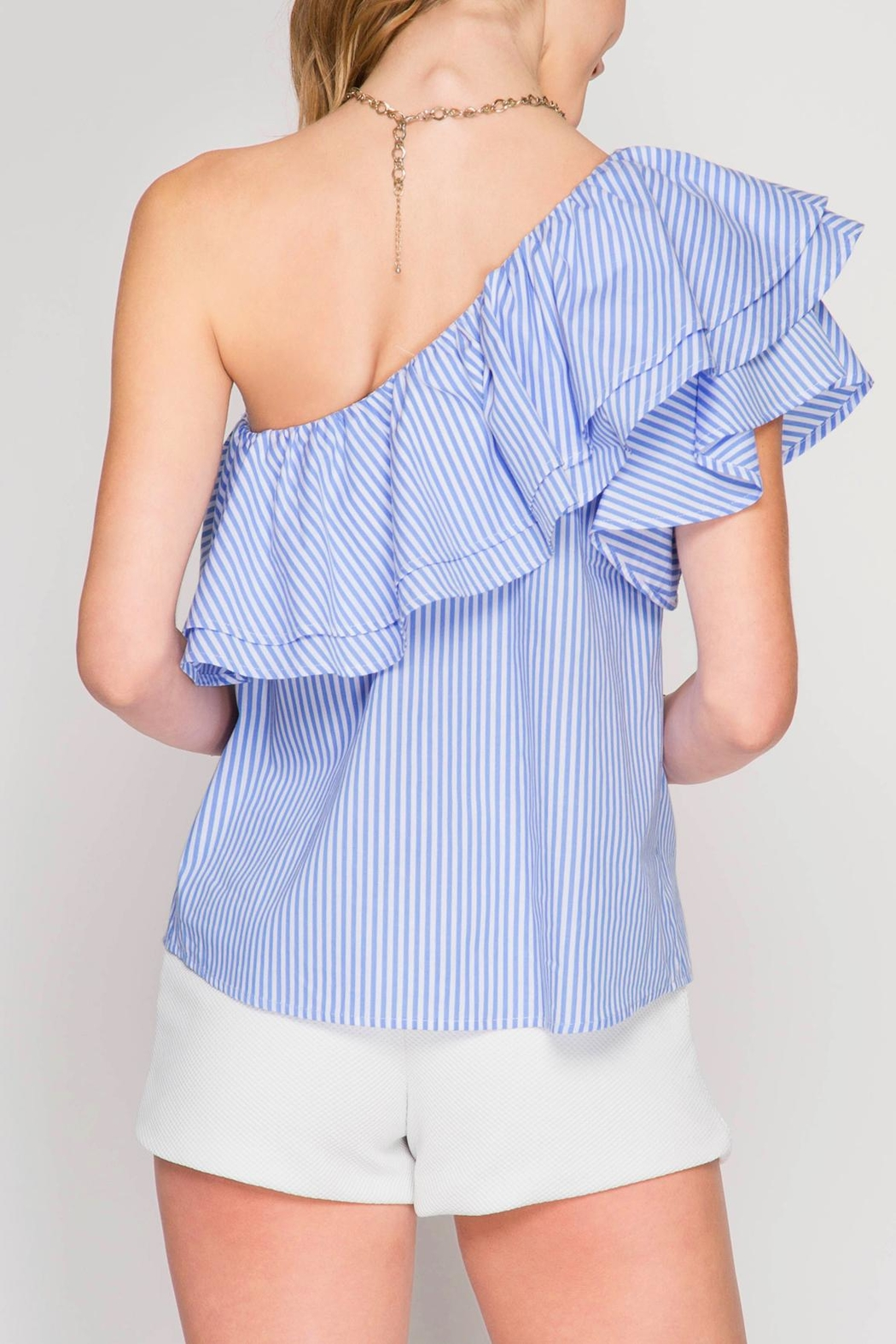 She + Sky One Shoulder Ruffle Top - Side Cropped Image