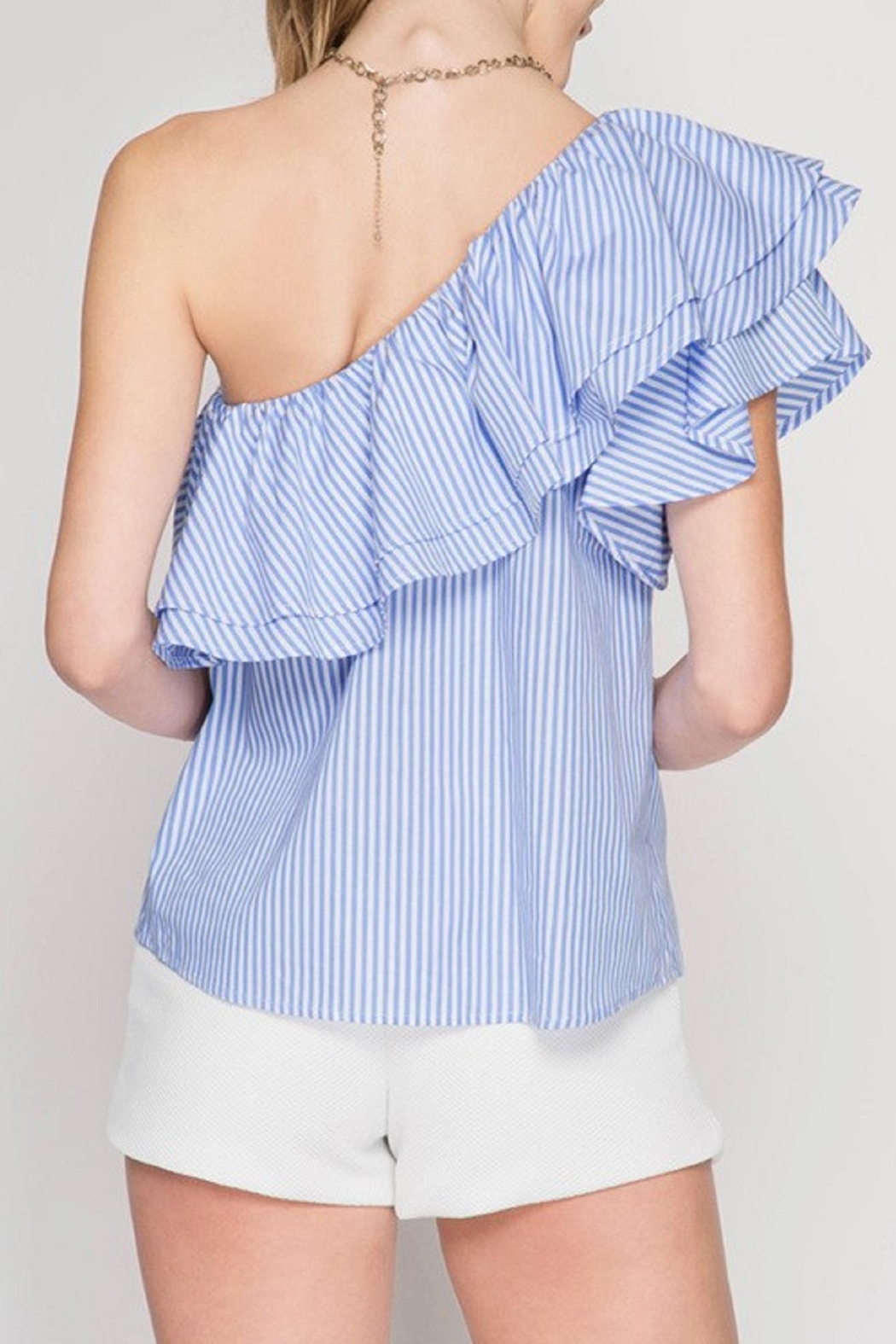 She + Sky One Shoulder Ruffle Top - Front Full Image