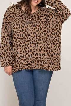 She + Sky Open-Back Leopard Top - Product List Image