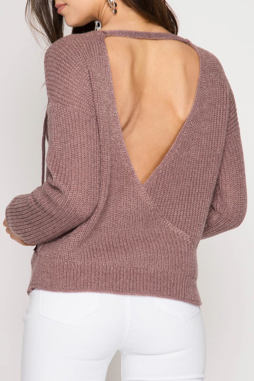 She + Sky Open-Back Surplice Sweater - Front Full Image