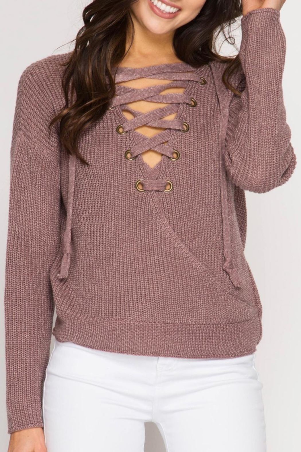 She + Sky Open-Back Surplice Sweater - Front Cropped Image