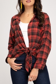 She + Sky Open Plaid Top - Front cropped