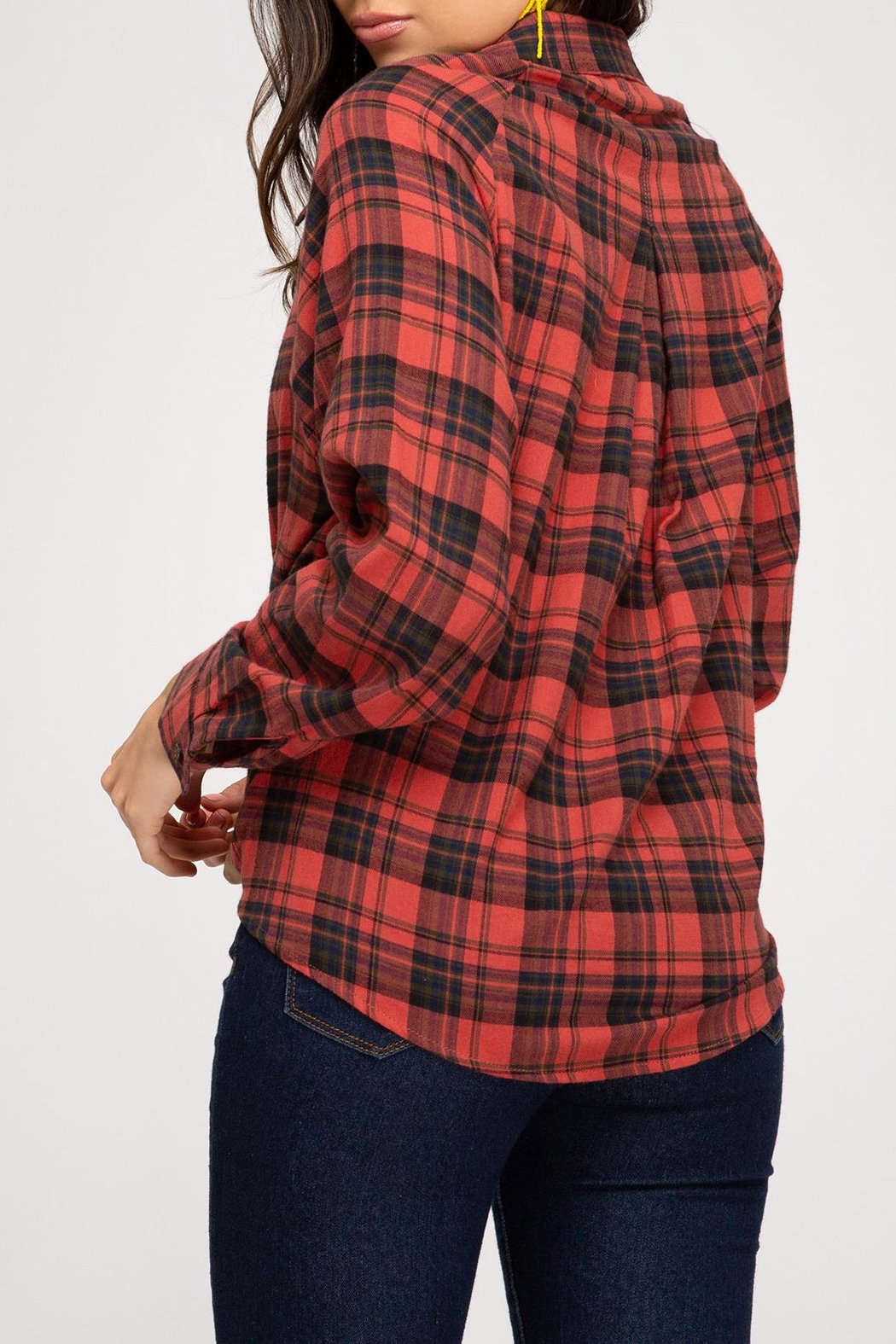 She + Sky Open Plaid Top - Front Full Image