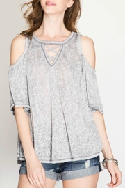 She + Sky Open Shoulder Top - Front cropped