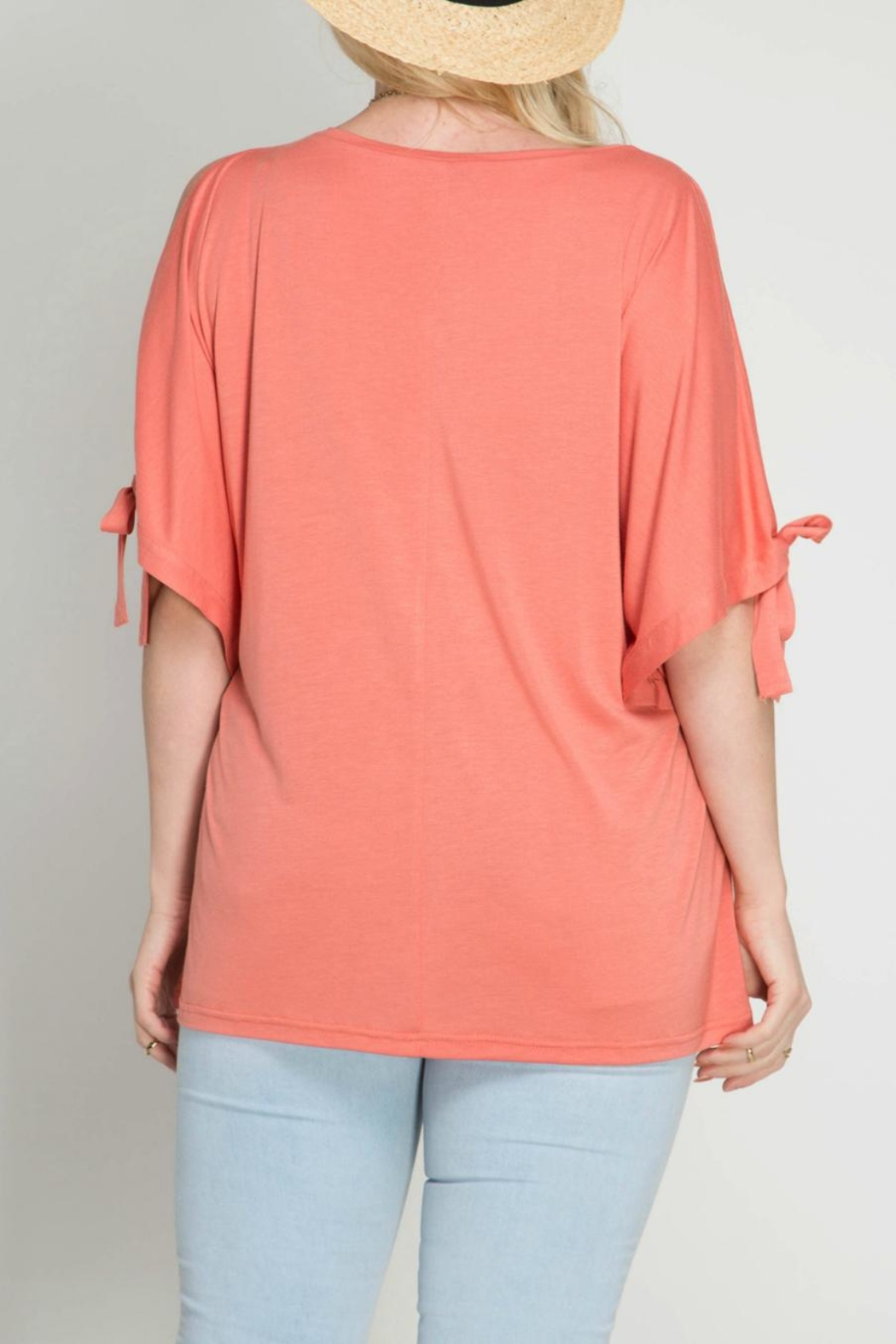 She + Sky Coral Open Shoulder Top - Front Full Image
