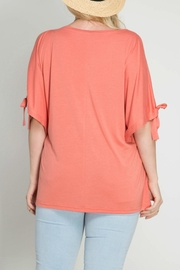 She + Sky Coral Open Shoulder Top - Front full body
