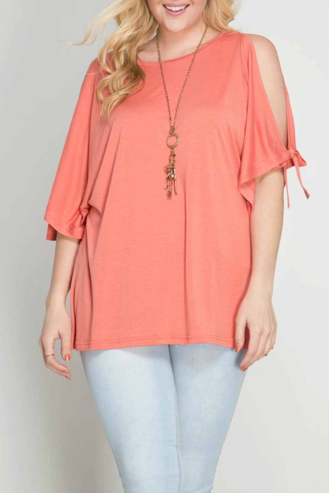 She + Sky Coral Open Shoulder Top - Front Cropped Image