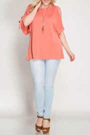 She + Sky Coral Open Shoulder Top - Other