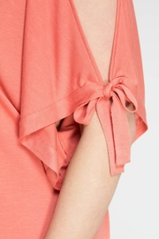 She + Sky Coral Open Shoulder Top - Back cropped
