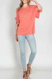 She + Sky Coral Open Sleeve Top - Product Mini Image